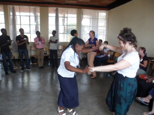Luca (right) dancing with Chantal on the first day of the program