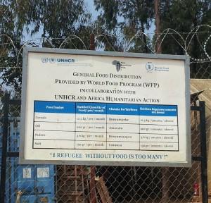 A signpost inside the Kiziba Refugee Camp, Rwanda