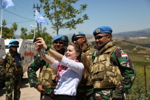Emily with UNIFIL peacekeepers in Lebanon earlier in 2015.