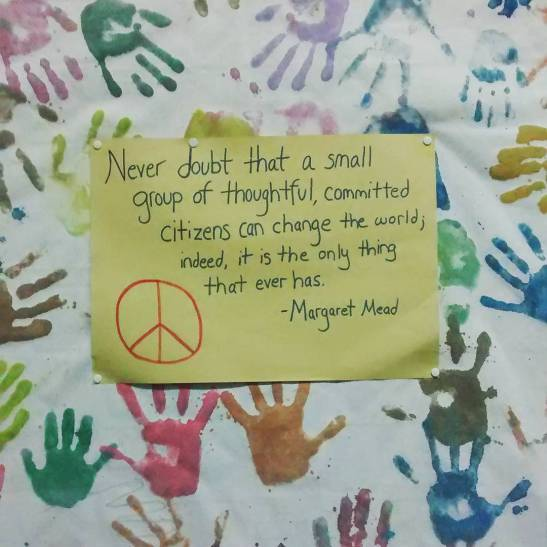 A reminder on the wall at the Center for Peacebuilding in Sanski Most.