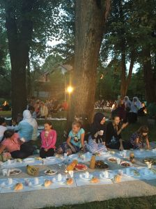 An interfaith iftar (meal at the end of one day during Ramadan). The interfaith iftar is one of CIM's educational an solidarity activities in Bosnia.